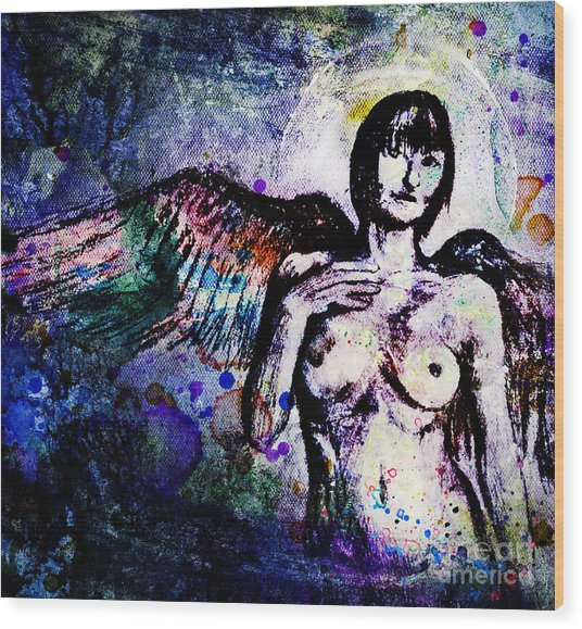 Angel With Rainbow Wings Wood Print