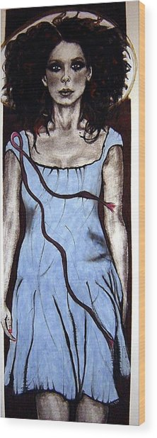 Angel With Ribbon Wood Print by Chrissa Arazny- Nordquist