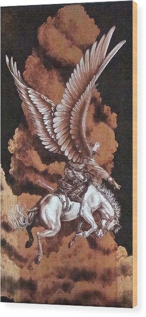 Angelic Saddle Bronc Wood Print by Jerrywayne Anderson