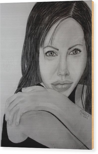 Angelina Jolie Wood Print by Kimber  Butler