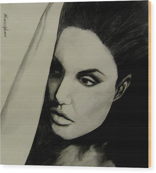 Wood Print featuring the drawing Angelina by Michelle Dallocchio