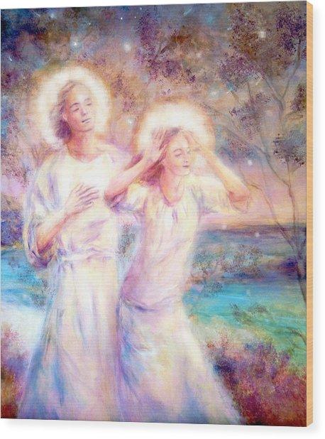 Angels By The Sea  Wood Print by Marija Schwarz