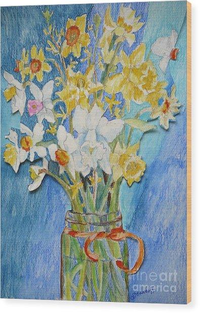 Angels Flowers Wood Print