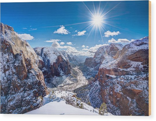 Angels Landing In Winter Wood Print