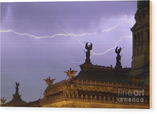 Angels Of Lightning Wood Print