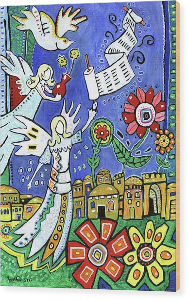 Angels Over Jerusalem Wood Print