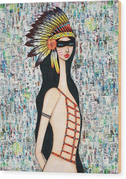 Wood Print featuring the mixed media Angeni by Natalie Briney