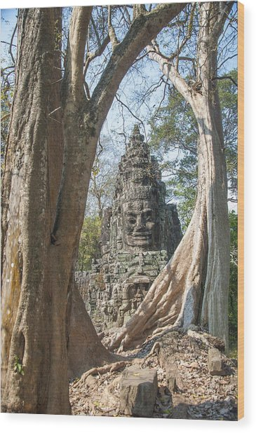 Angkor Thom South Gate Wood Print