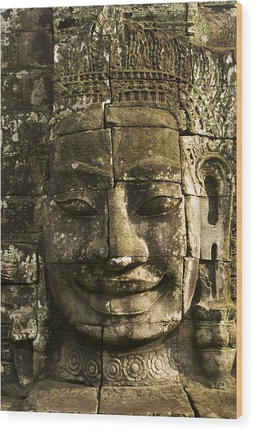 Angkor Wat Face Wood Print