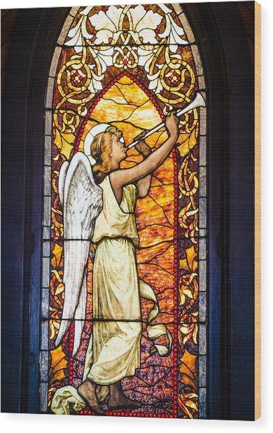 Angel In Glass Wood Print