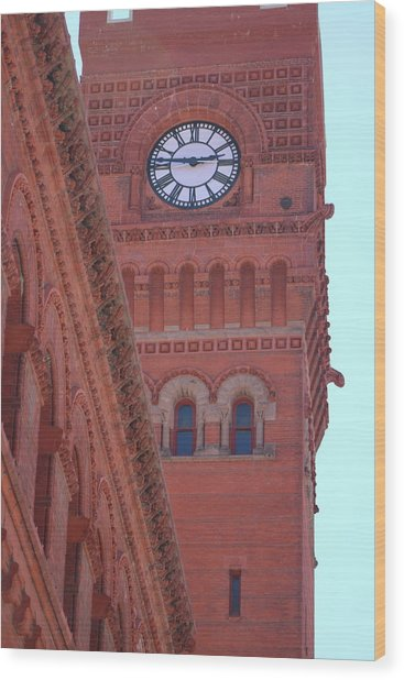 Angled View Of Clocktower At Dearborn Station Chicago Wood Print