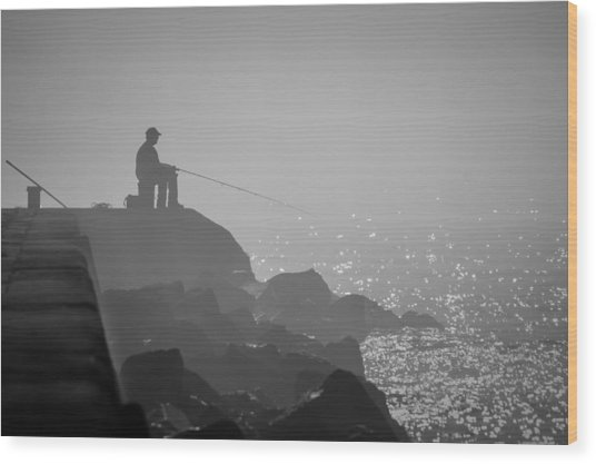 Angling In A Fog  Wood Print