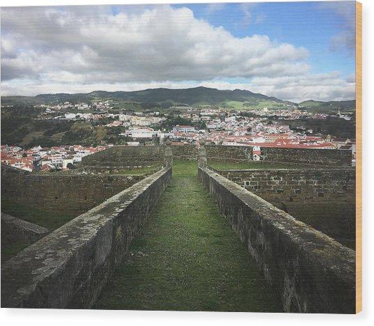 Angra Do Heroismo From The Fortress Of Sao Joao Baptista Wood Print