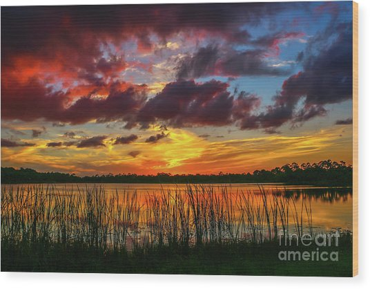 Angry Cloud Sunset Wood Print