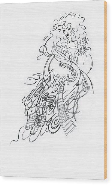 Angry Fairy Wood Print by Agnese Kurzemniece
