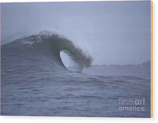 Angry Wave Angry Day Wood Print