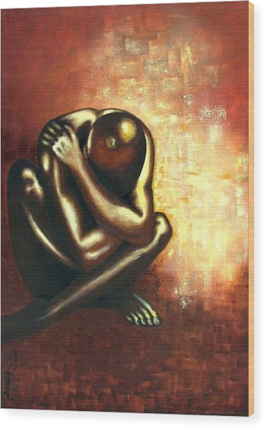 Angst Of Existence Wood Print by Padmakar Kappagantula
