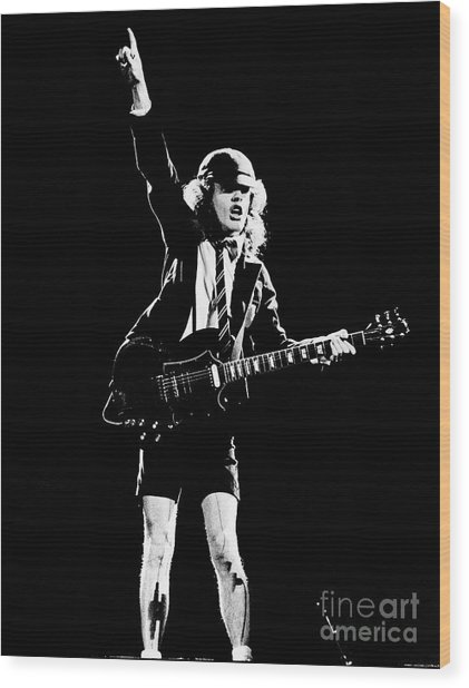 Angus Young Of Ac/dc 1983 Wood Print