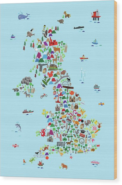 Animal Map Of Great Britain And Ni For Children And Kids Wood Print