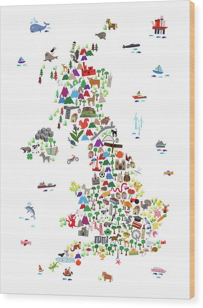 Animal Map Of Great Britain For Children And Kids Wood Print