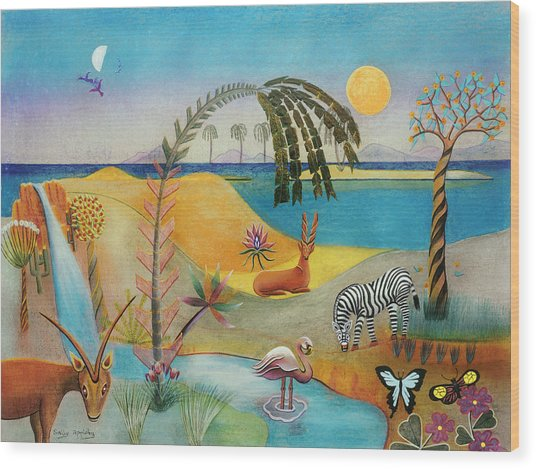 Animal Paradise Wood Print by Sally Appleby