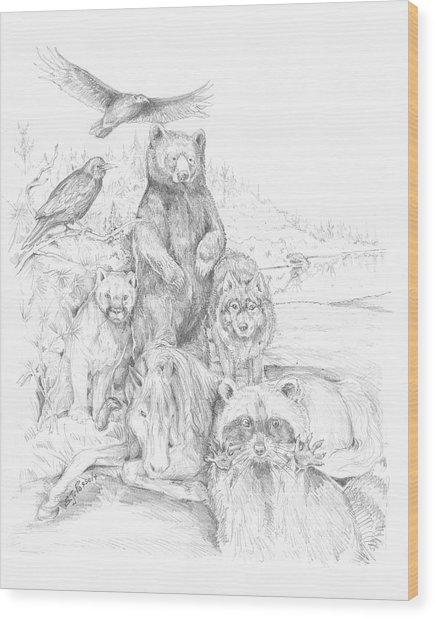 Animal Wisdom Wood Print
