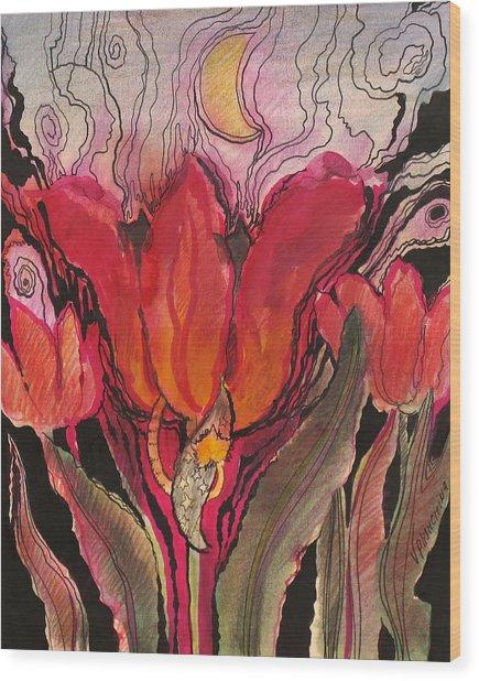 Animals In The Tulip Wood Print