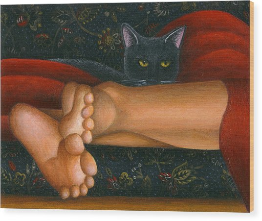Ankle View With Cat Wood Print by Carol Wilson