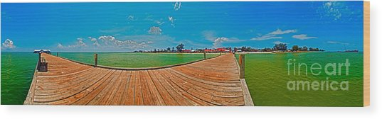 Anna Maria Island Seen From The Historic City Pier Panorama Wood Print