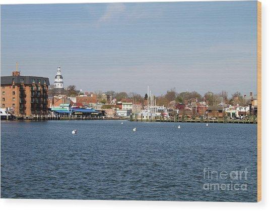 Annapolis City Skyline Wood Print