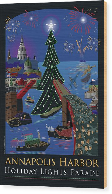 Annapolis Holiday Lights Parade Wood Print