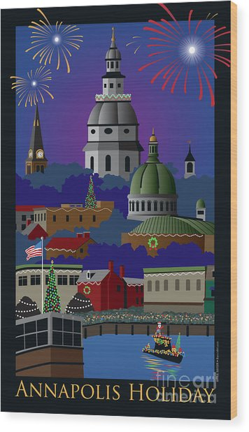 Annapolis Holiday With Title Wood Print