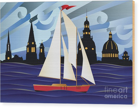 Annapolis Skyline Red Sail Boat Wood Print