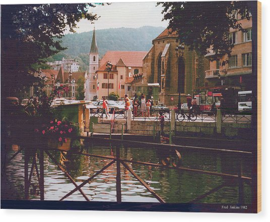 Annecy France Village Scene Wood Print