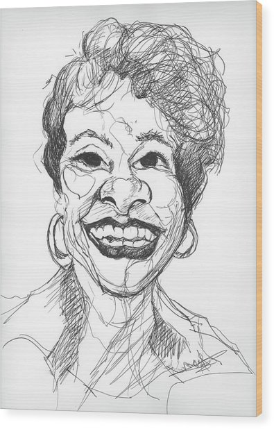 Annette Caricature Wood Print