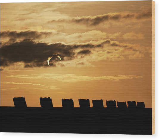 Annular Eclipse Over Cadillac Ranch Wood Print