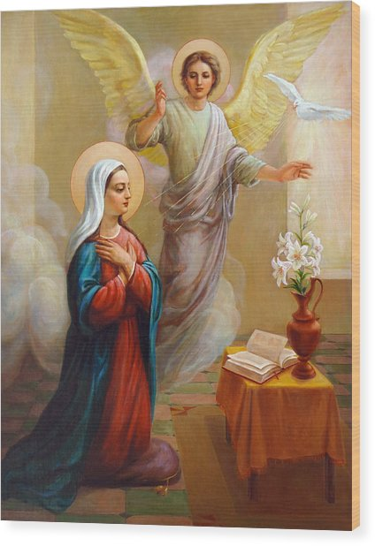 Annunciation To The Blessed Virgin Mary Wood Print
