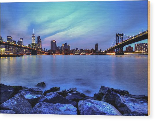 Another Day Comes To A Close In Nyc Wood Print by Daniel Portalatin
