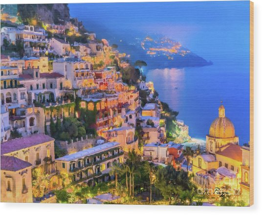 Another Glowing Evening In Positano Wood Print