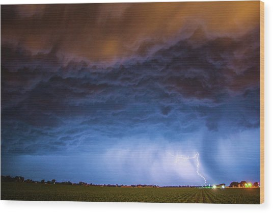 Another Impressive Nebraska Night Thunderstorm 008/ Wood Print