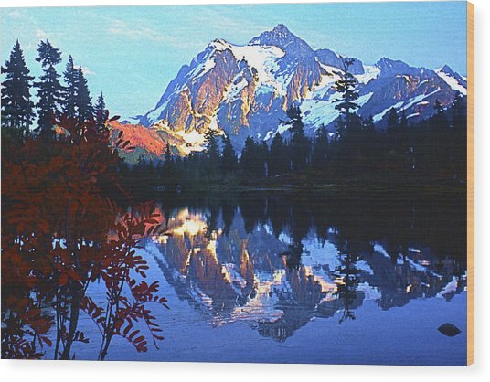 Another Shuksan Reflection Wood Print