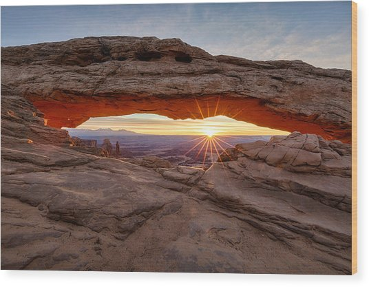 Another Sunrise At Mesa Arch Wood Print