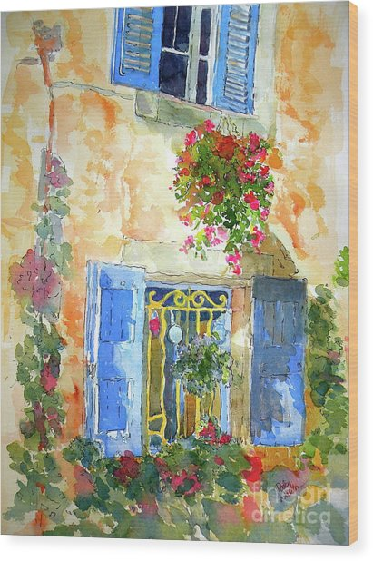 Ansouis Windowbox Wood Print