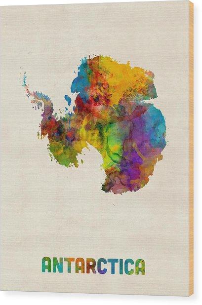 Antarctica Watercolor Map Wood Print