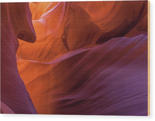 Antelope Canyon Fire Wood Print