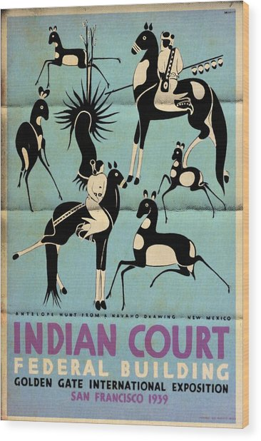Antelope Hunt From A Navaho Drawing Exhibition - Vintage Poster Folded Wood Print