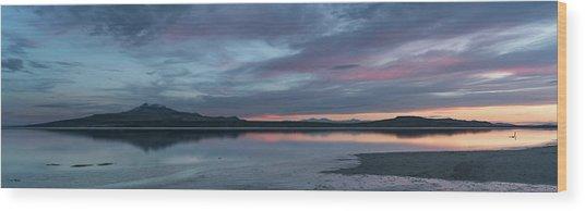 Antelope Island Panoramic Sunset Wood Print by Justin Johnson