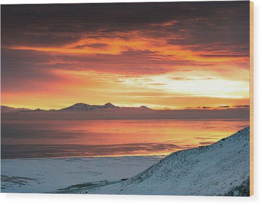 Antelope Island Sunset Wood Print
