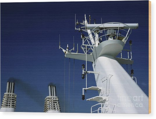 Antennas And Chimneys On A Large Ferry Wood Print by Sami Sarkis