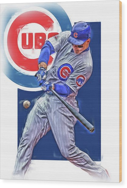 Anthony Rizzo Chicago Cubs Oil Art Wood Print